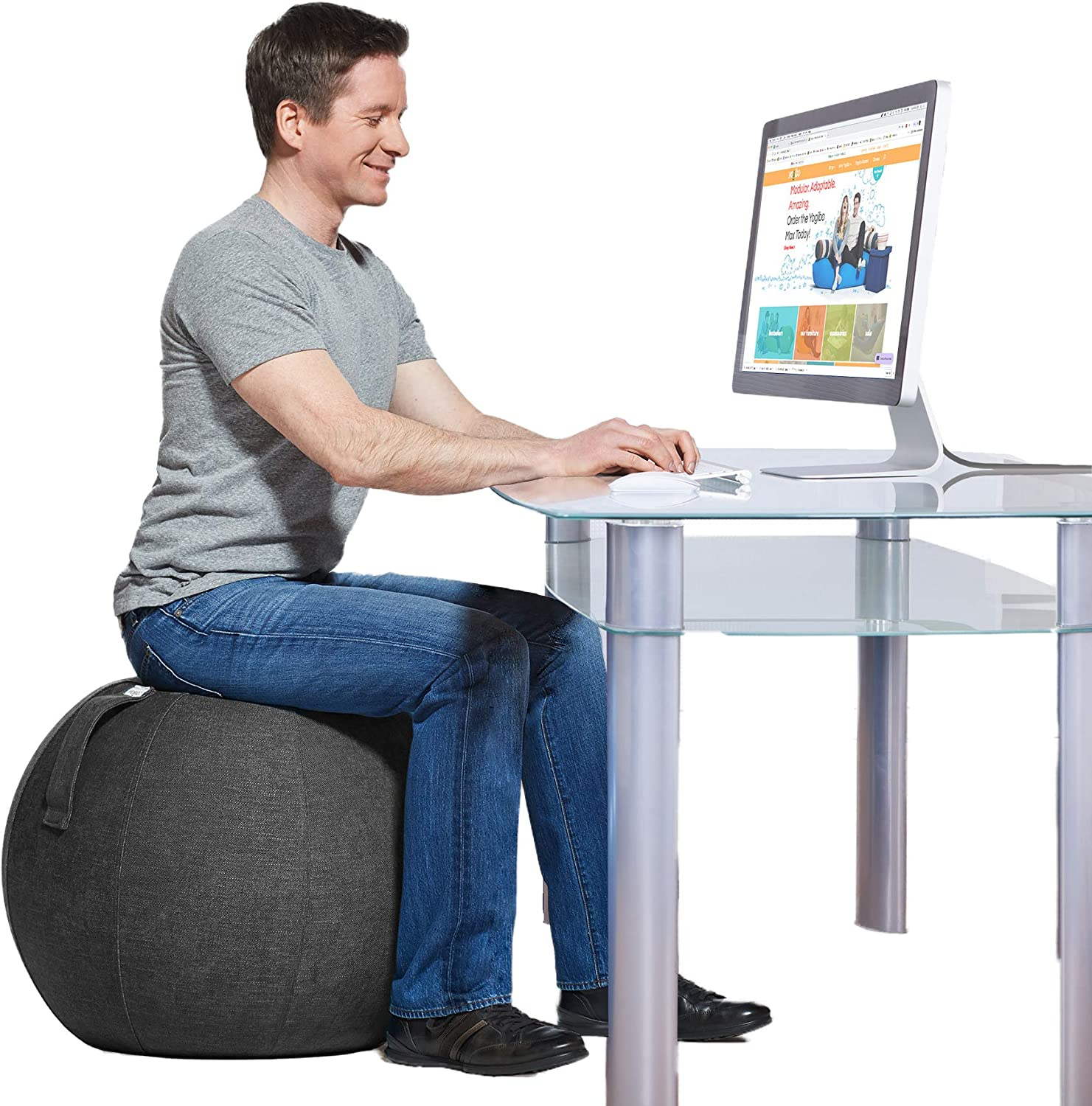 Amazon Com Yogibo Yogabo Ergonomic Balance Ball Chair For Home Desk Exercise Yoga Office Seat With Built In Base For Stability Grey Home Kitchen