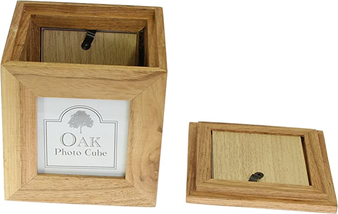 Photo Frames Caja de recuerdo de foto de madera de roble natural 3 x 3 pulgadas: Amazon.es: Hogar