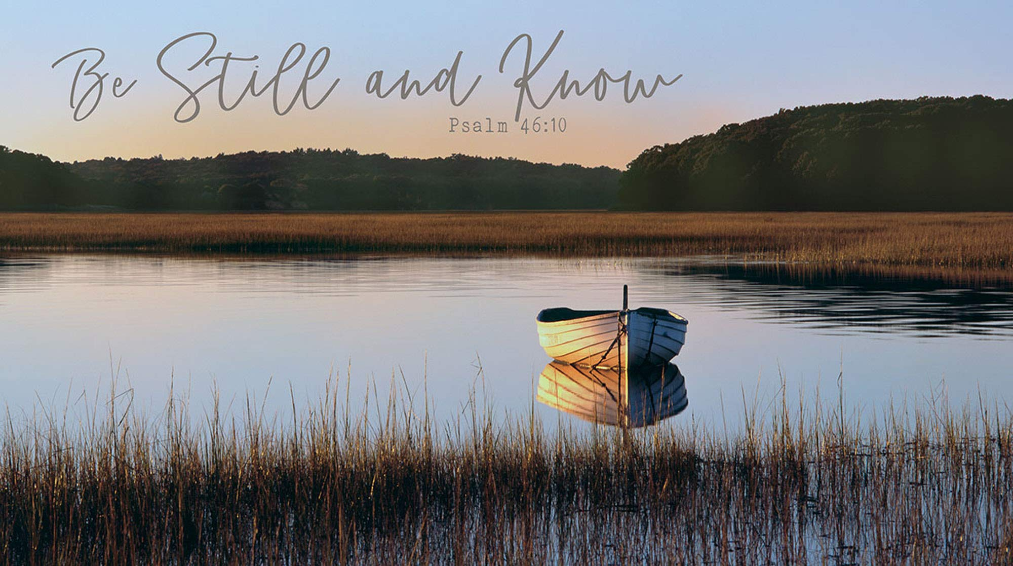 P. Graham Dunn Be Still and Know Lake Row Boat 36 x 20 Inch Wood Printed Decorative Wall Plaque Sign by P. Graham Dunn