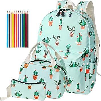 Acmebon Zaino scuola stampato,leggero e molto carino Borsa scuola alla moda per libri per Ragazze e Ragazzi Cactus 626