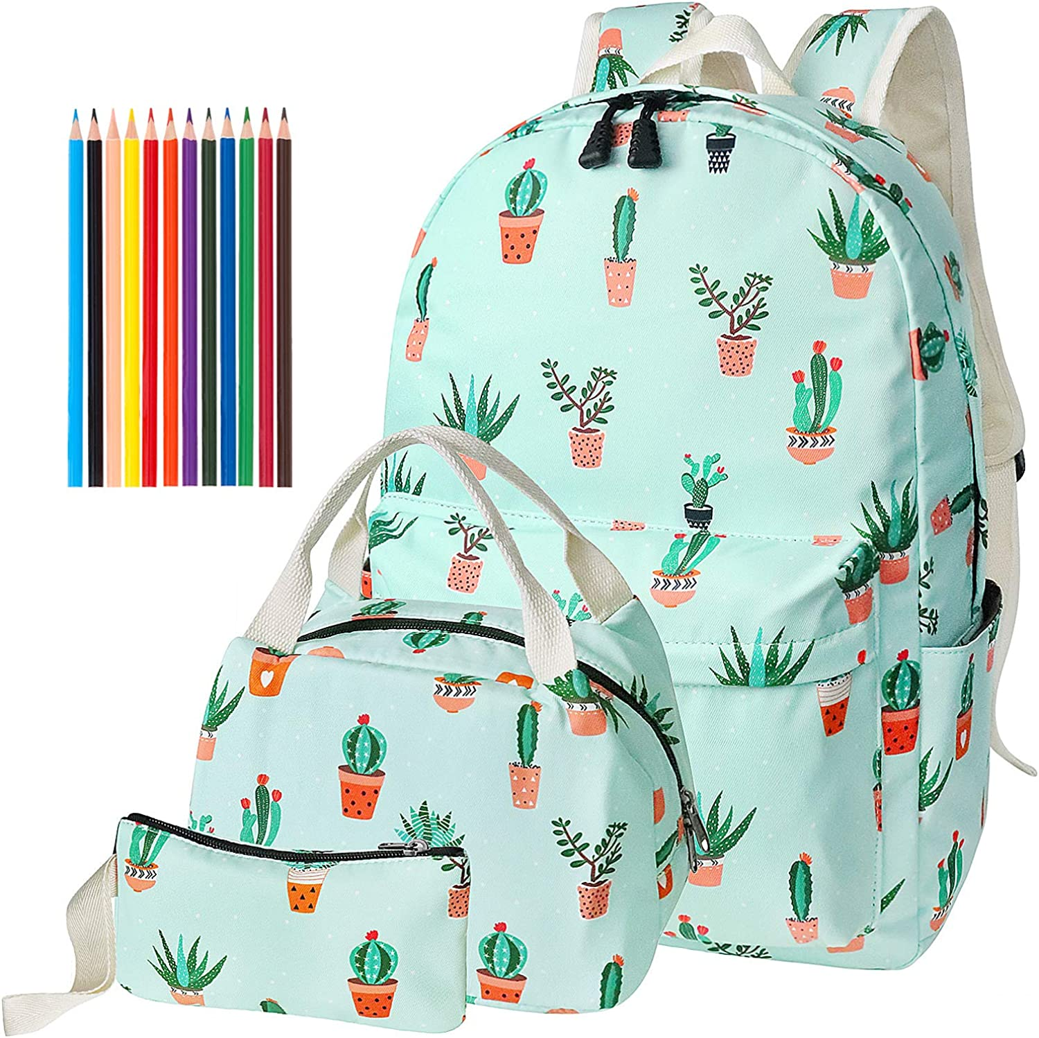 Teen Girls School Backpack, School Bag Bookbags with Lunch Box Pencil Case