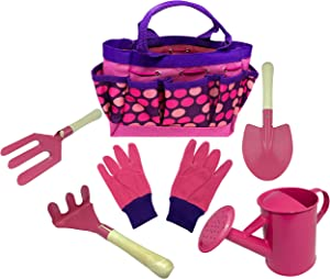 Kids Gardening Tool Set - Real Metal Child Sized Hand Tools with Wooden Handles & Safety Edges; Shovel, Rake & Pitch Fork - Plus Watering Can, Garden Gloves & Durable Canvas Carrying Bag. Pink