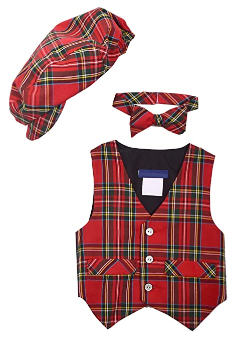 Vintage Style Children's Clothing: Girls, Boys, Baby, Toddler Bonnie Jean Jeffrey Banks Toddler Boys Tartan Plaid Vest Set (2t-4t) $24.99 AT vintagedancer.com