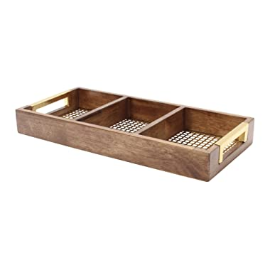 Kate and Laurel Hanneli Perforated Gold Metal and Walnut Wood Divided Tray