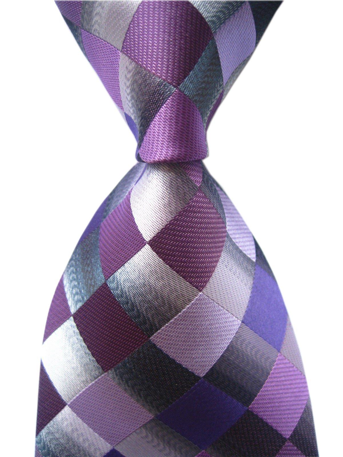 Secdtie Men's Classic Checks Purple Grey Jacquard Woven Silk Tie Necktie