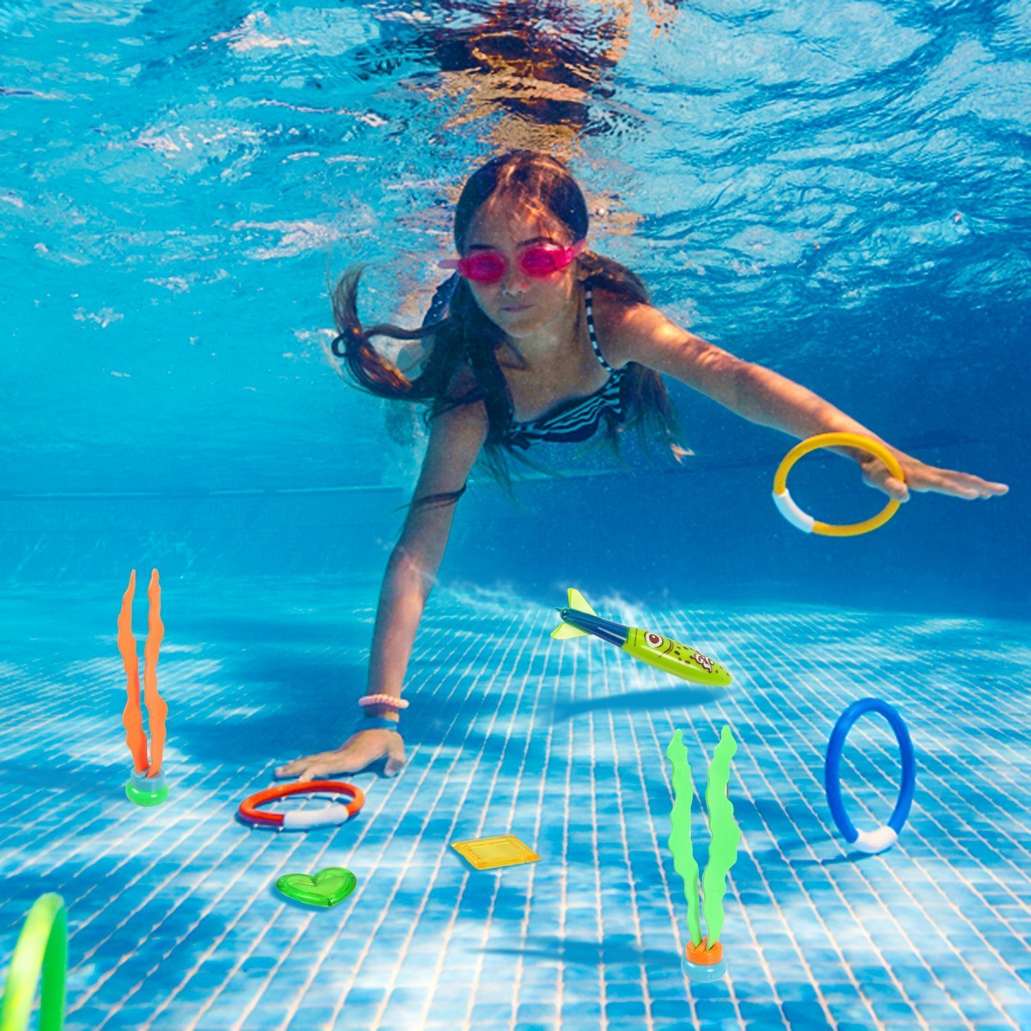 LEZHI Underwater Swimming/Diving Pool Toy Rings including (4) Diving Rings, (4) Diving Torpedos Bandits,(3) Stringy Octopus, (6) Diving Dolphins,(8) with Under Water Treasures Gift Set Bundle by LEZHI (Image #2)