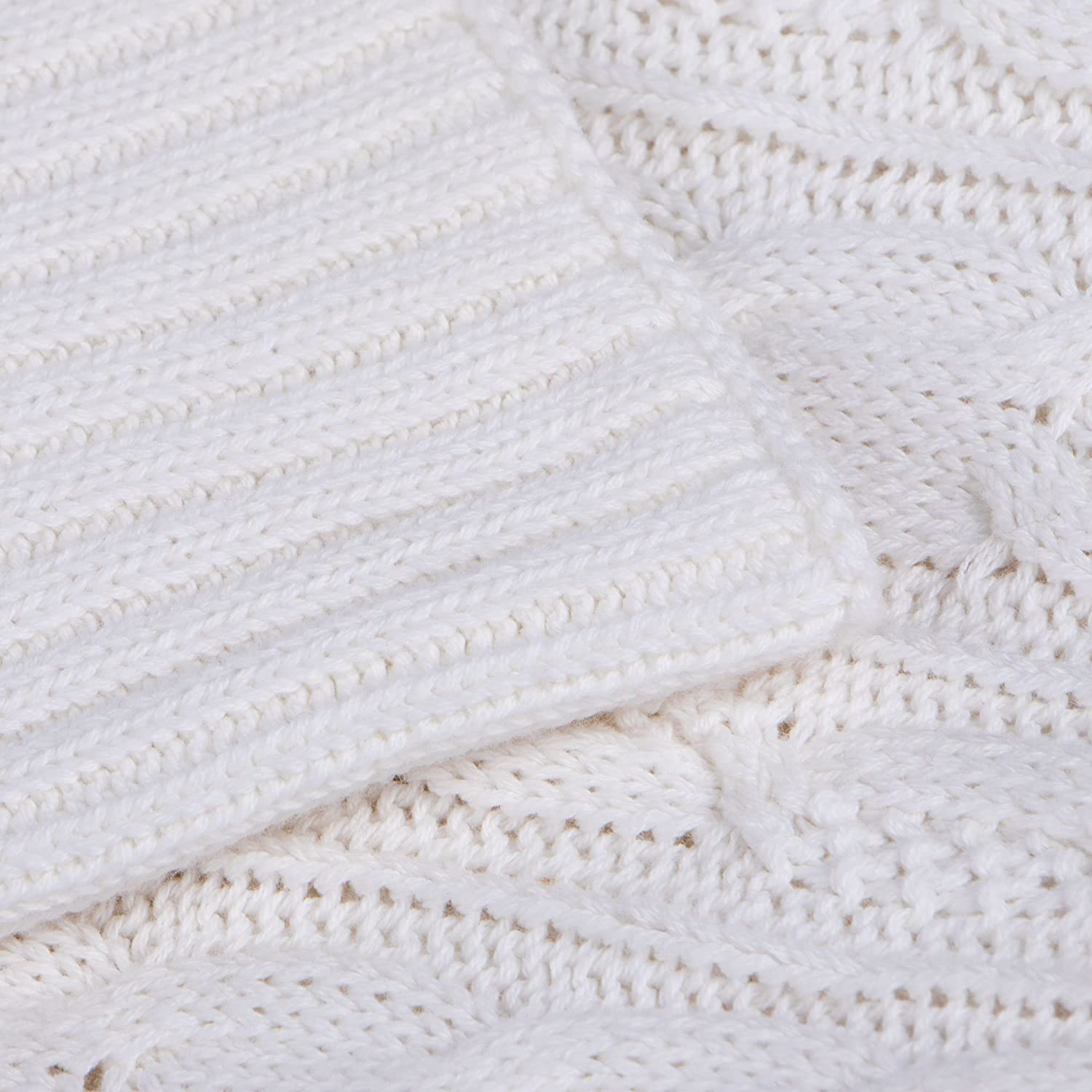 NTBAY 100/% Cotton Cable Knit Throw Blanket Super Soft Warm Multi ...