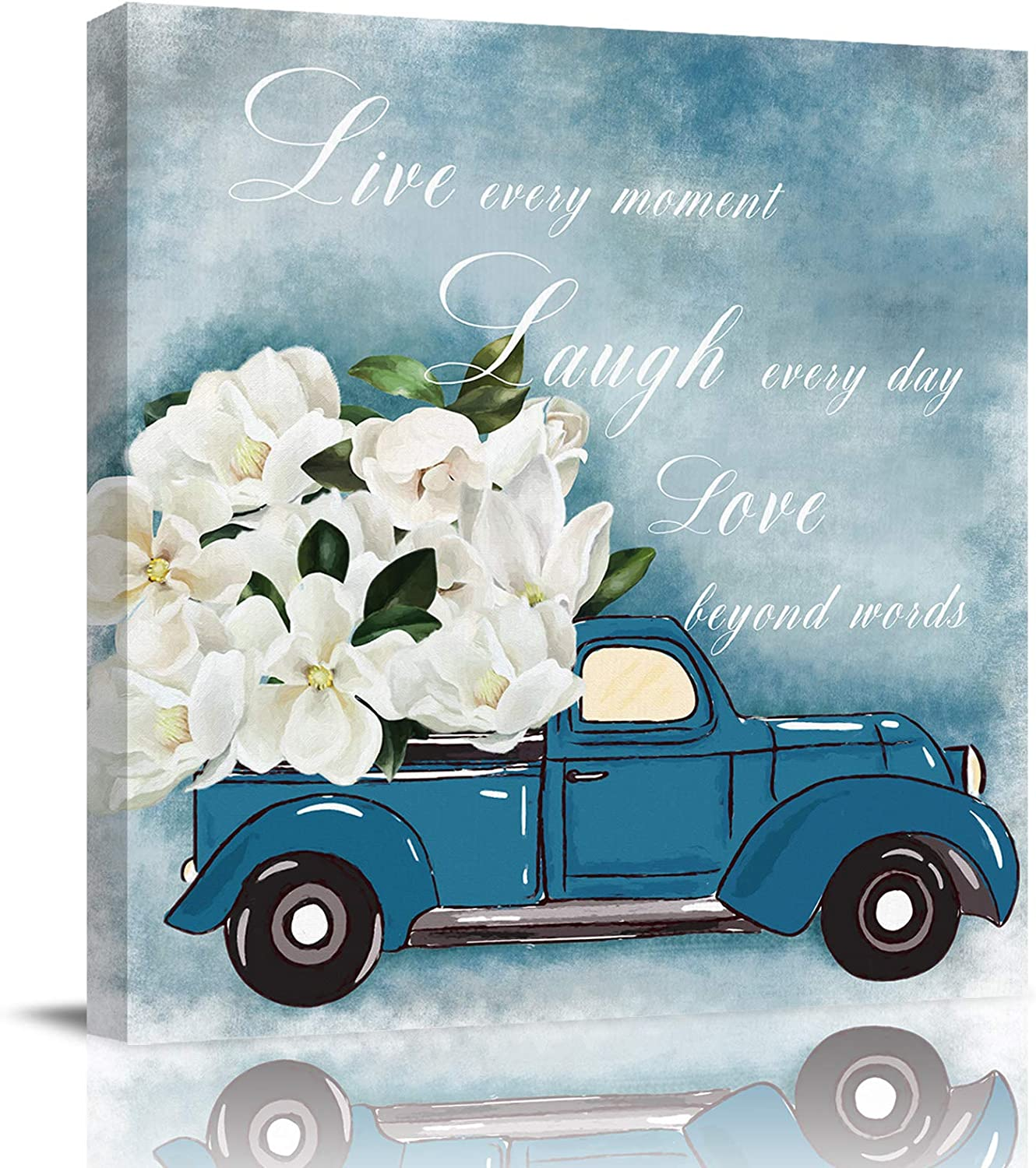 Bathroom Decor Canvas Wall Art, Blue Truck Carrying Magnolia Flowers Quotes Live Laugh Love Canvas Prints Gallery Artworks for Bedroom, Stretched and Framed Ready to Hang, 12x12 Inch Wall Decor