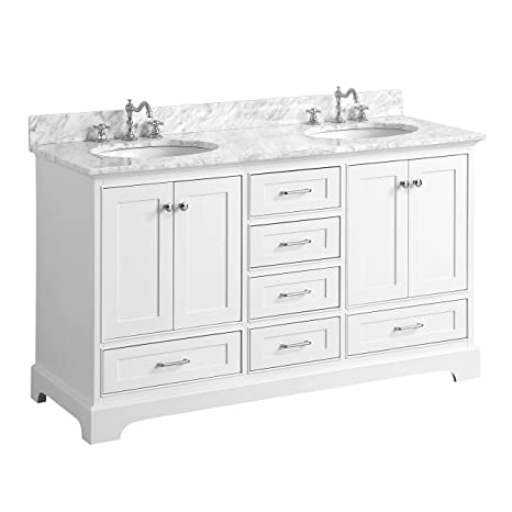 Harper 60 Inch Double Bathroom Vanity Carrara White Includes Authentic Italian Carrara Marble Countertop White Cabinet With Soft Close Function
