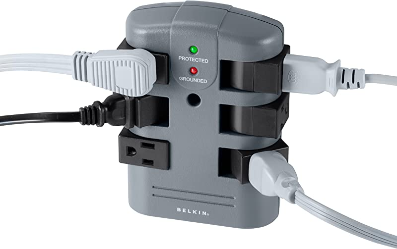 Belkin 6-Outlet Pivot-Plug Surge Protector, Wall Mount (1,080 Joules)