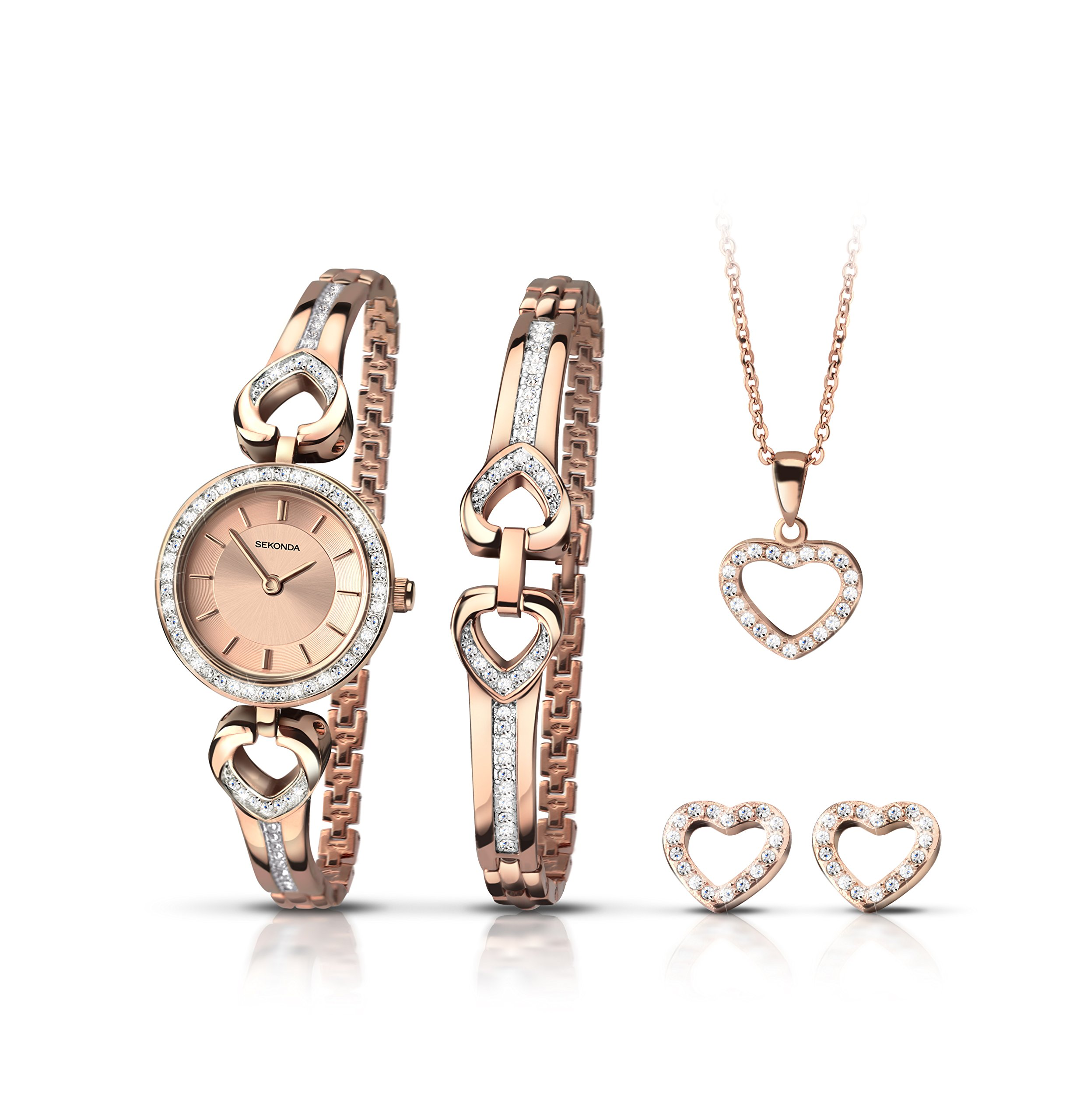 Sekonda Christmas Gift Set Watch With Heart Necklace, Bracelet and Earrings 2363G