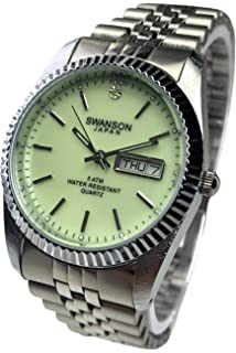 Reloj de Hombre Swanson Japan Watch Mens Silver Luminous Dial Day-Date New Water Resistant