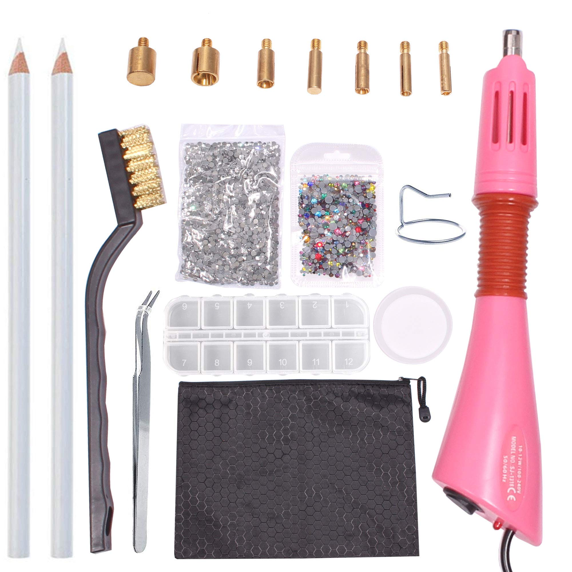 Rhinestone Hotfix Applicator -DIY Hot-Fix Applicator Crystal Wand Setter Tool Kit with 7 Different Sizes Tips,Tweezers & Brush Cleaning kit and 2 Bags Hot-Fix Crystal Rhinestones(About 3000 Stone) by AllGoodWare