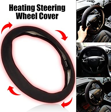 SEG Direct Heated Steering Wheel Cover Small-Size for Prius Civic Camaro Spark Rogue Mini Smart Audi with 14inches-14.25inches Outer Diameter 12V Quick Heating Black Velour with Coiled Cord