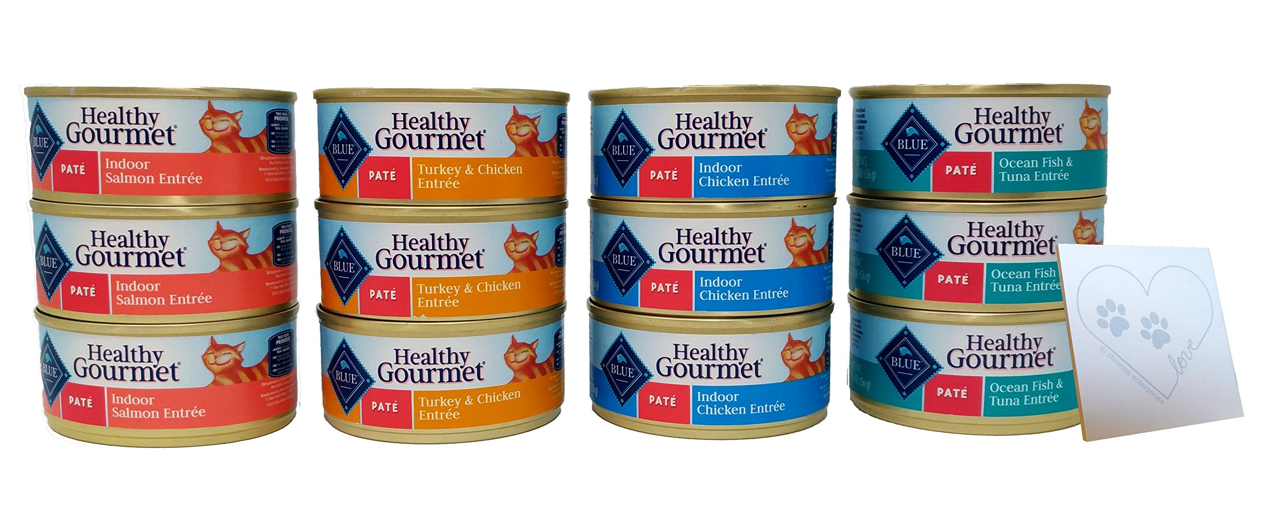 Blue Buffalo Healthy Gourmet Pate Wet Cat Food Variety Pack - 4 Flavors: Turkey & Chicken, Ocean Fish & Tuna Entree, Salmon, and Chicken. (12 Total Cans, 5.5 oz Each) by Blue Buffalo Healthy Gourmet