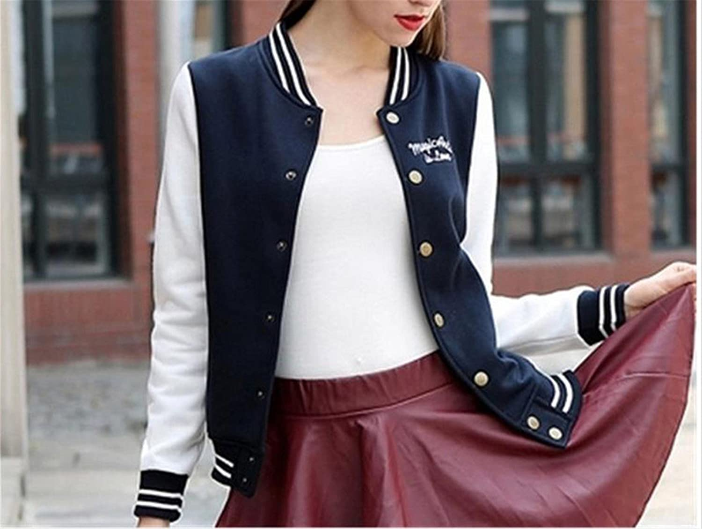 Amazon.com: Feilongzaitianba Splice Sleeves Baseball Jacket Casacos Femininos College Jacketswomen Bomper Jacket Coats: Clothing