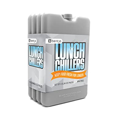 Bentgo Ice Lunch Chillers – Ultra-thin Ice Packs (4 Pack) (Grey)