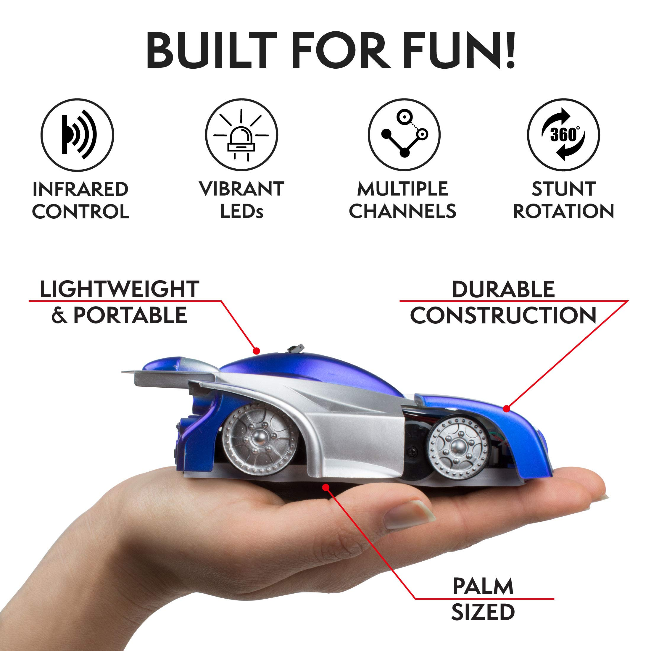 Force1 Gravity Defying RC Car - Remote Control Car for Floor or Wall Rechargeable Fast RC Car (Blue) by Force1 (Image #4)