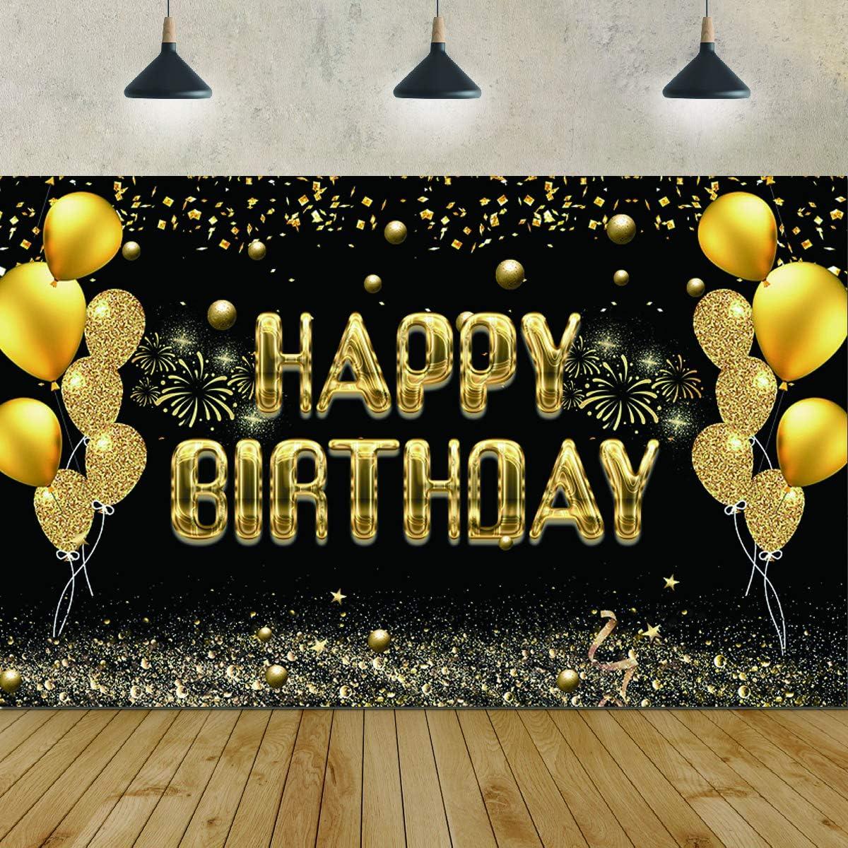 Alles Gute Zum Geburtstag Party Hintergrund Banner Stoff Schwarz Und Gold Zeichen Poster Für 30 40