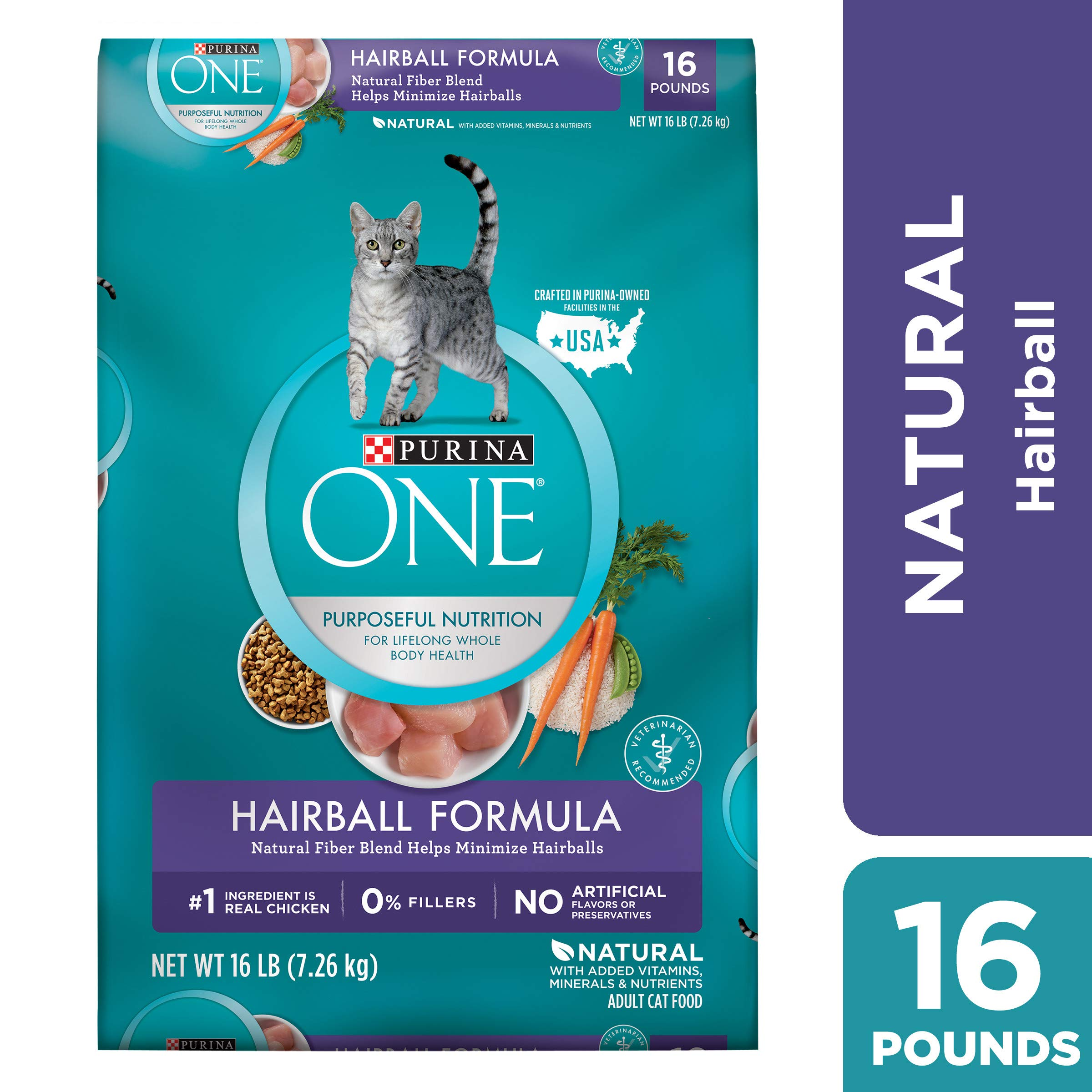 Purina ONE Hairball, Natural Dry Cat Food, Hairball Formula - 16 lb. Bag by Purina ONE