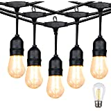 Lightdot LED Outdoor String Lights 24FT with Warm White Dimmable Edison Vintage Plastic Bulbs, Commercial Grade Waterproof He