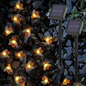 2 Packs Outdoor Solar Bee String Lights 22 Ft 30 LEDs Honeybee Fairy Lights with 8 Lighting Modes, Waterproof Solar Bumble Bee Lights for Patio Yard Garden Grass Wedding Christmas Party Decor
