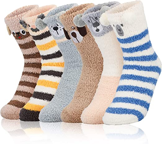 PP PLUIE POURPRE 6 Pairs Women Fuzzy Warm Slipper Socks Super Soft Cozy Sleeping Floor Socks for Home Indoor Winter