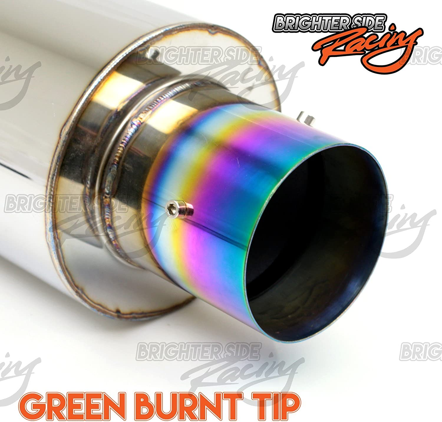 Fits 2005-2010 Scion Tc 2.5 Inlet Green Burnt Tip Bolt On Deep Sound Stainless Steel Muffer Exhaust