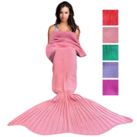 86ce9f7bf Wimaha Mermaid Blanket Crochet Fleece For Kids Adult Mermaid Tail Blanket  Knitting For Toddler Baby Girls Women 71L x 31.5W inches Pink:  Amazon.co.uk: ...