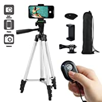 """Paladinz Phone Tripod 42 """" Inch ( 106 cm ) Lightweight Aluminum iPhone Tripod Stand for Camera iPhone Samsung Windows and Most Other Phones with Carrying Bag and Universal Smartphone Mount and Wireless Bluetooth Remote Control"""