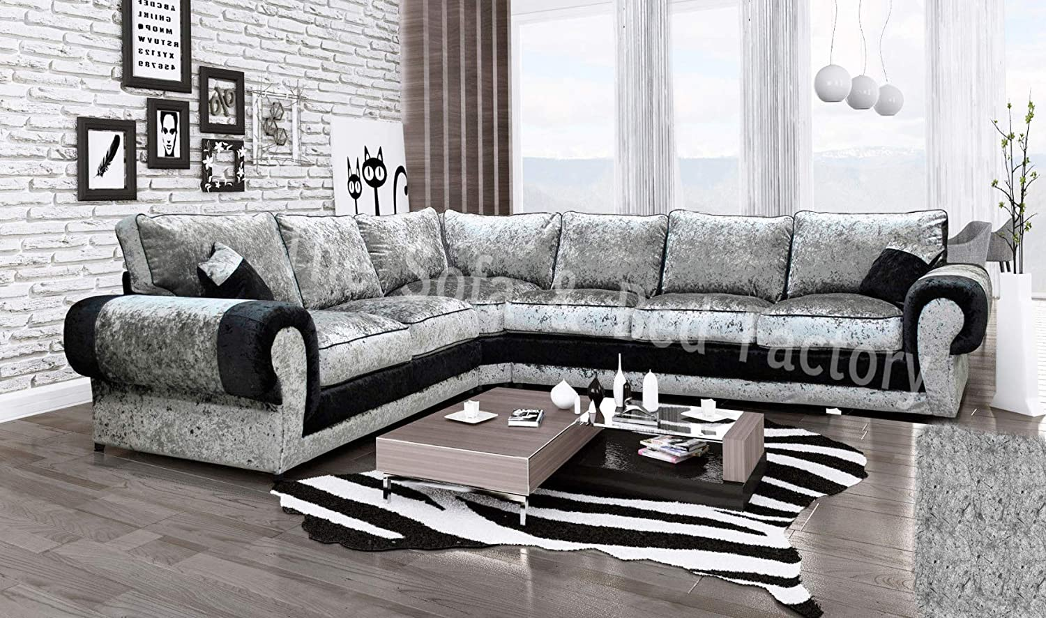 separation shoes b80ce 01b0f Details about Cheap Luxury Lara Crushed Velvet Large 6 Seater Corner Sofa  Black and Silver 2C3