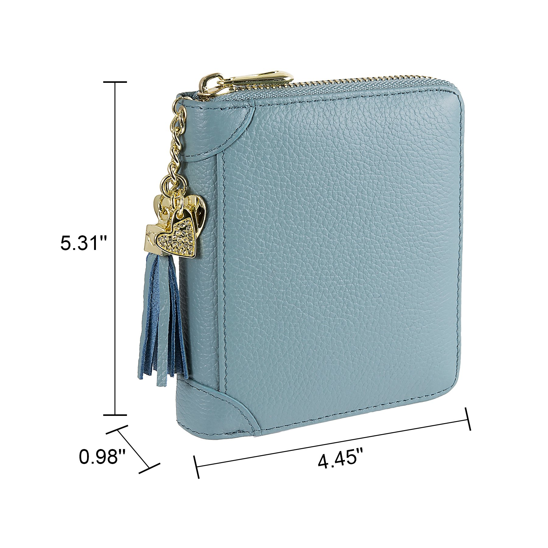 SafeCard 40 Card Solts Women's Credit Card Case Wallet 2 ID Window and Zipper Card Holder (40 Card Blue) by ZORESS (Image #5)