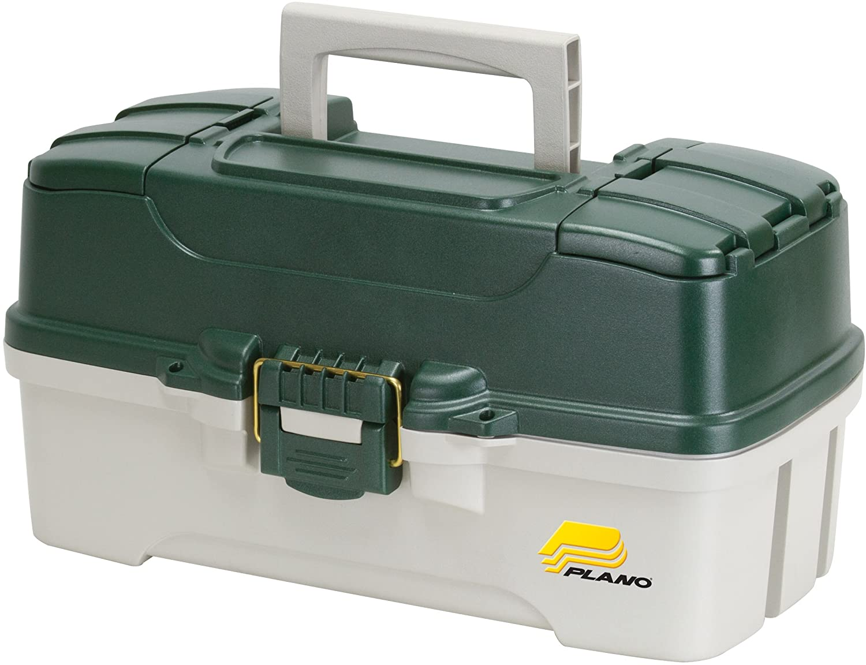 Plano 3-Tray Tackle Box with Dual Top Access, Dark Green Metallic Off White, Premium Tackle Storage