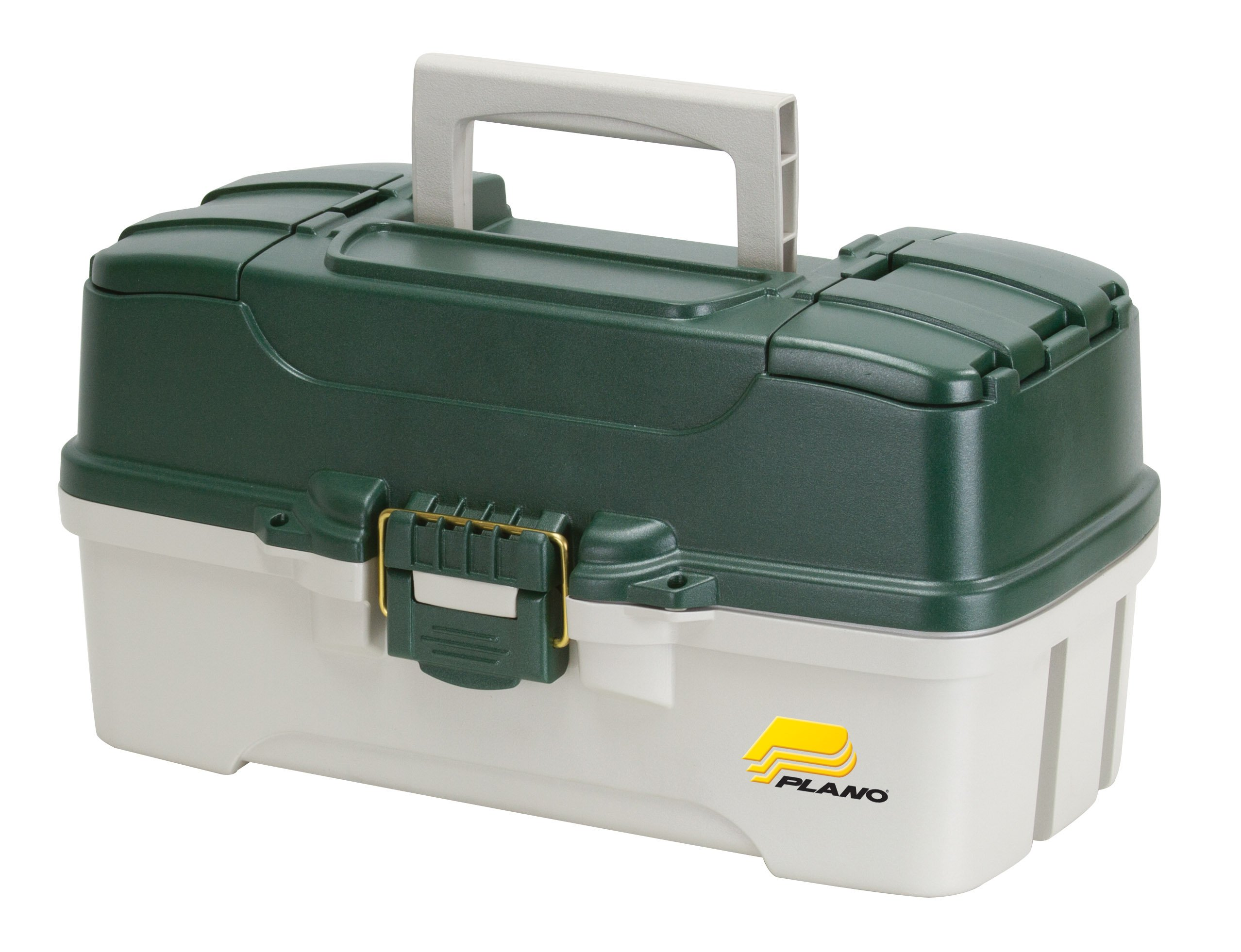 Plano 3-Tray Tackle Box with Dual Top Access, Dark Green Metallic/Off White, Premium Tackle Storage by Plano