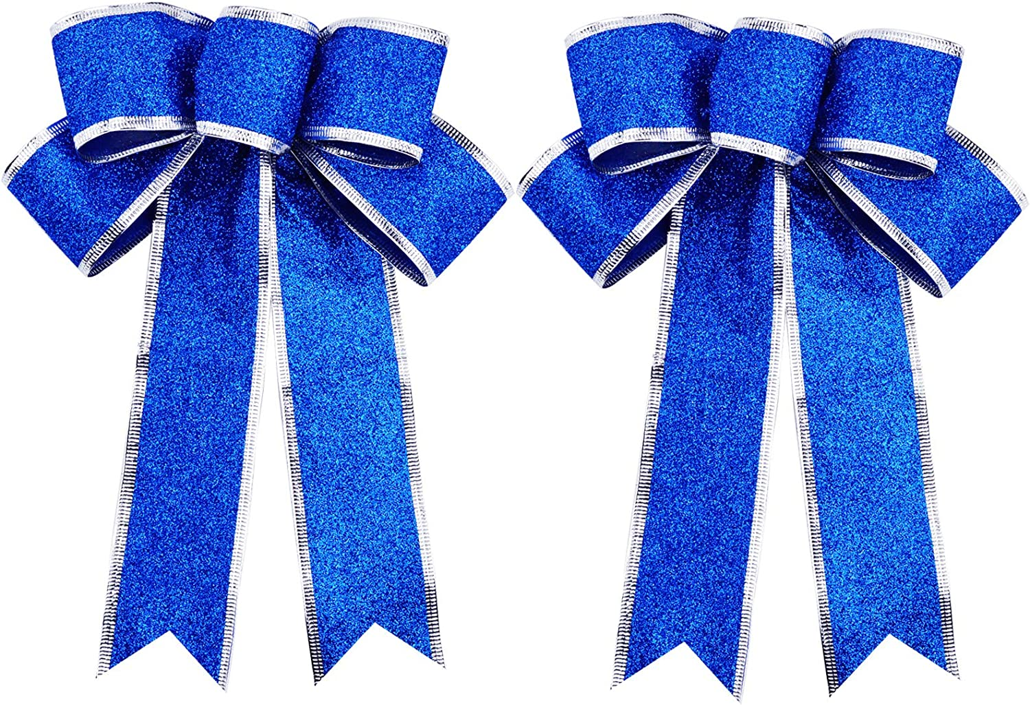 FIVEI Christmas Ribbon Bows Large Blue Christmas Tree Topper Xmas Bowknot Decoration Ornaments for Wreaths Gift Wrapping Supplies 7 x 9.8inch 2 Pack