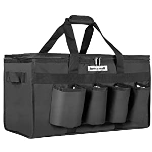 Homemell Food Delivery Bag with Cup Holders Commercial Grade Food Shopping Tote Bag with Drink carriers XXL | FDA Compliant PEVA Liners Insulation | Upgraded Durable Zippers | Stands Upright Reusable Grocery Bag Holder | Perfect for Uber Eats, Postmates, GrubHub, Instacart, Catering | Premium Warmer and Cold Bag for Frozen Food