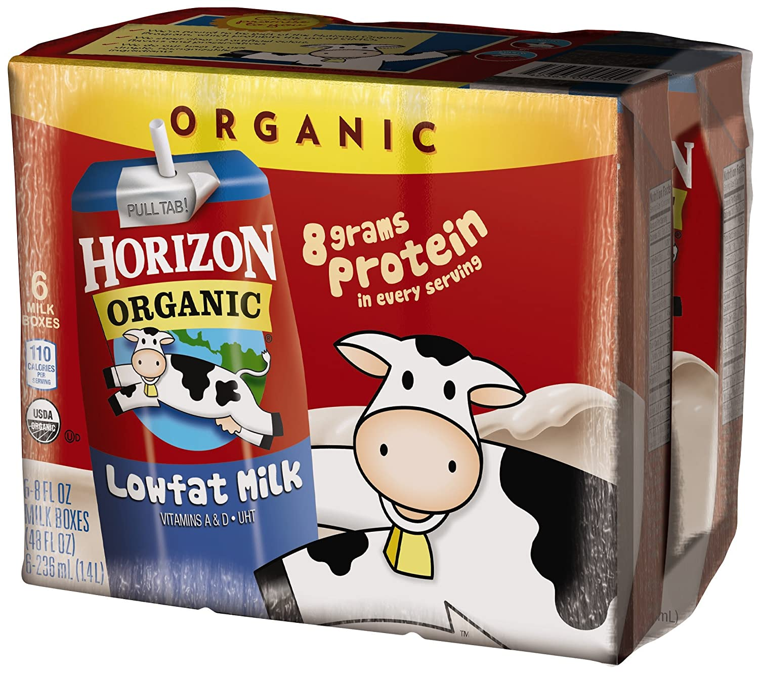 Horizon Organic, Low Fat Organic Milk Box, Plain, 8 Ounce (Pack of 6)