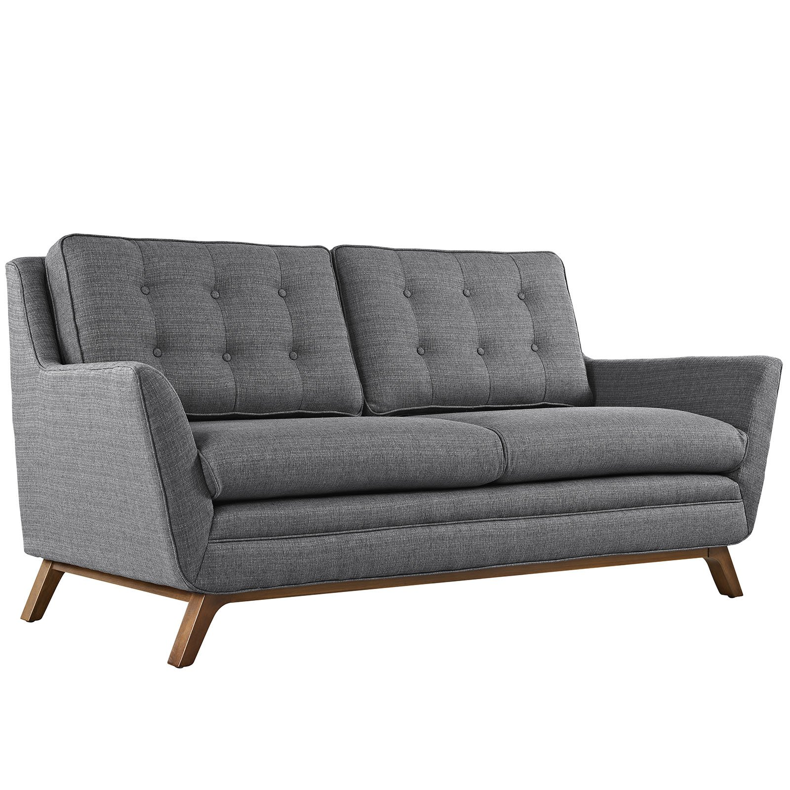 Modway Beguile Mid-Century Modern Loveseat With Upholstered Fabric In Gray by Modway