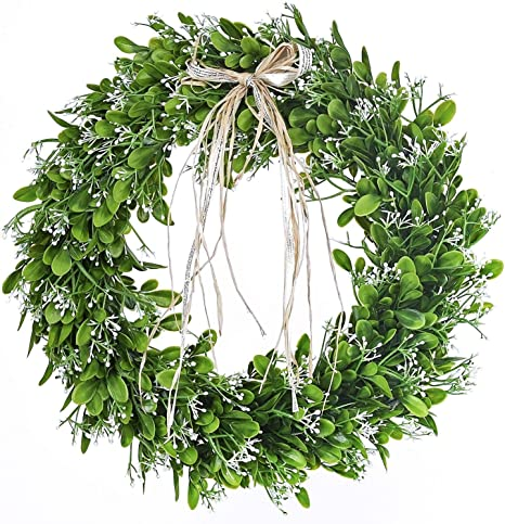 16 inch Artificial Green Leaf Wreath with Bow Spring Front Door Wreath St Patricks Day Wreaths for Front Door best spring home decor