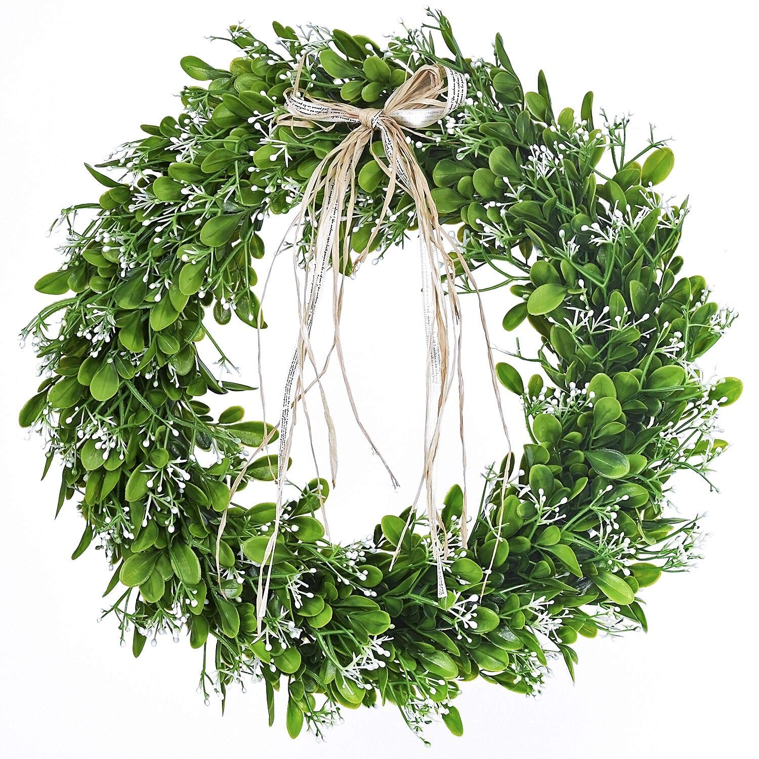 16 inch Artificial Green Leaf Wreath with Bow Spring Front Door Wreath St Patricks Day Wreaths for Front Door by Woooow