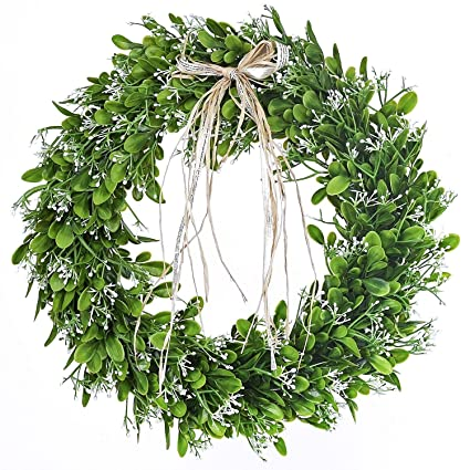 Amazon Com 16 Inch Artificial Green Leaf Wreath With Bow Spring