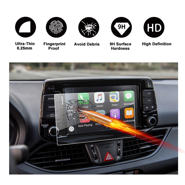 RUIYA Protector de pantalla de vidrio templado para 2016-2017 Hyundai i30 III (PD) i30 Wagonon Sistema de navegación,película transparente,Crystal Clear HD Protector de pantalla-8 Pulgada