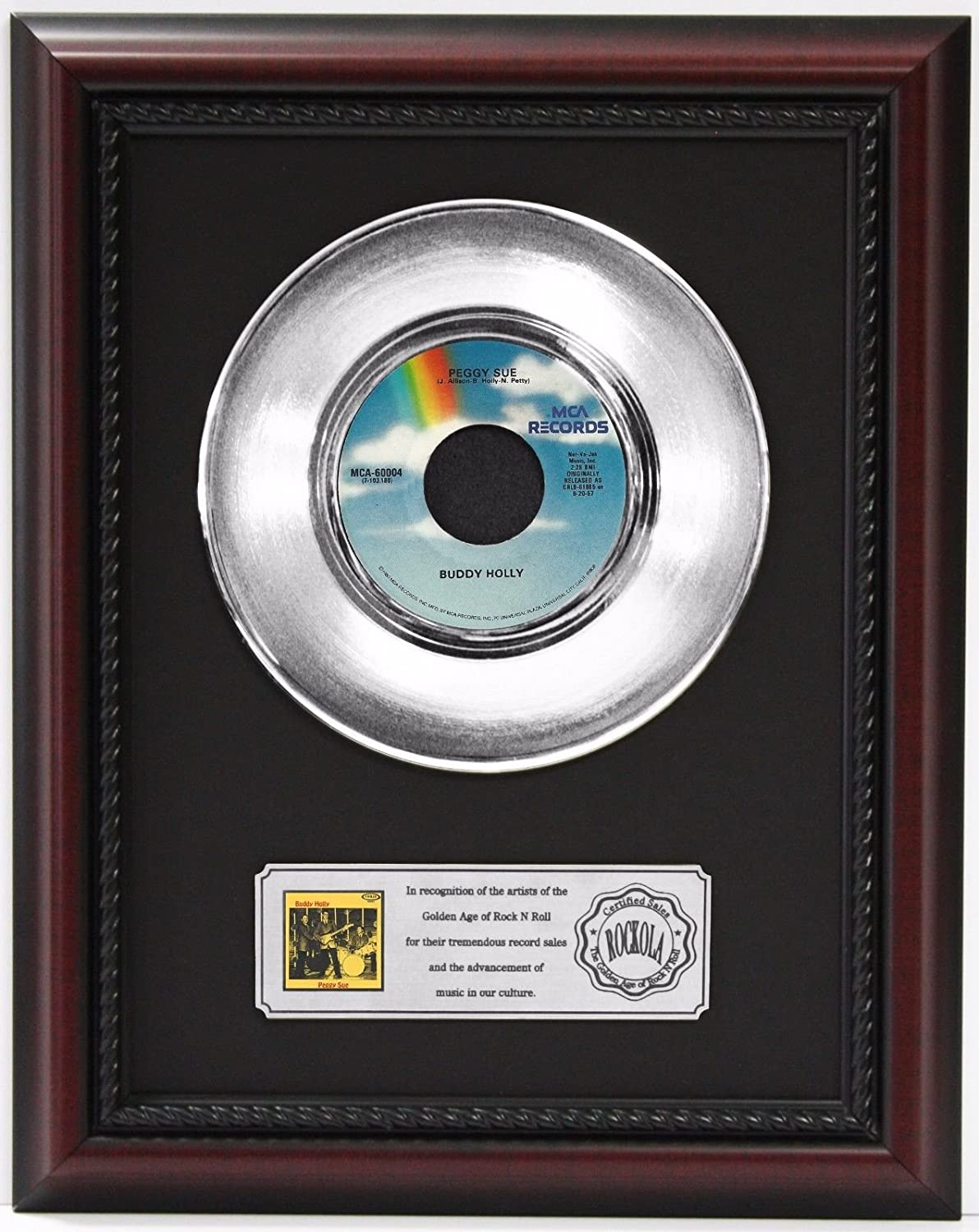 Buddy Holly Peggy Sue Platinum Record Framed Cherrywood Display