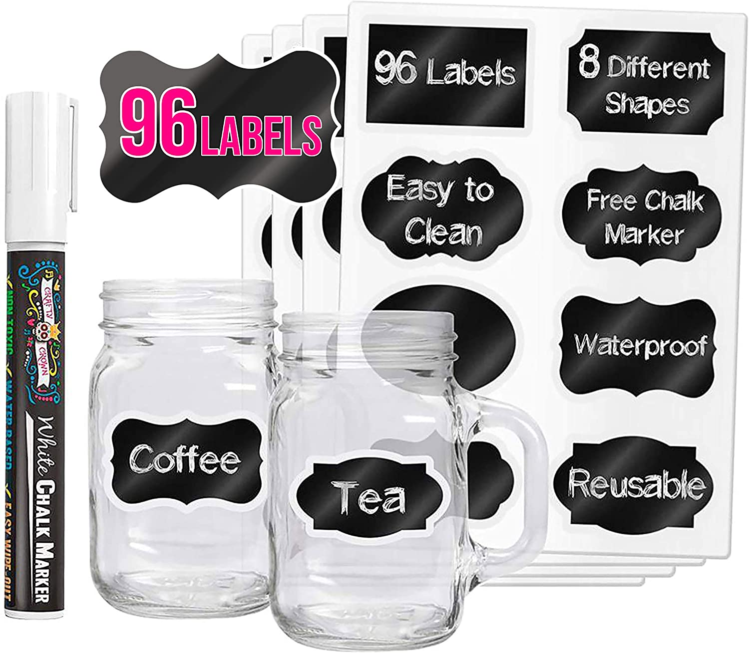 96 Premium Chalkboard Labels with Erasable White Chalk Marker Included - Chalk Board Mason Jar Labels - Removable Blackboard Sticker Label for Jars