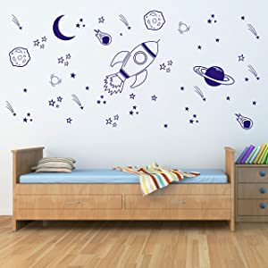 Space Wall Decal Nursery, Outer Space Decor, Rocket Decal, Boy Room Decor, Space Ship Decal, Space Themed Room, Planets Wall Decal for Baby Boys Nursery(A37) (Blue)
