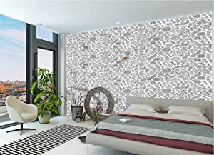 LCGGDB Black and White Wall Stickers Murals,Doodle Flowers Paperhanging Wallpaper for Office Livingroom Girls Bedroom Family Wall Decals-118x83 Inch