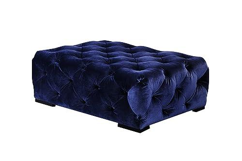 Pangea Home Z RECT OTT Navy Jasper Rectangular Ottoman Velvet,