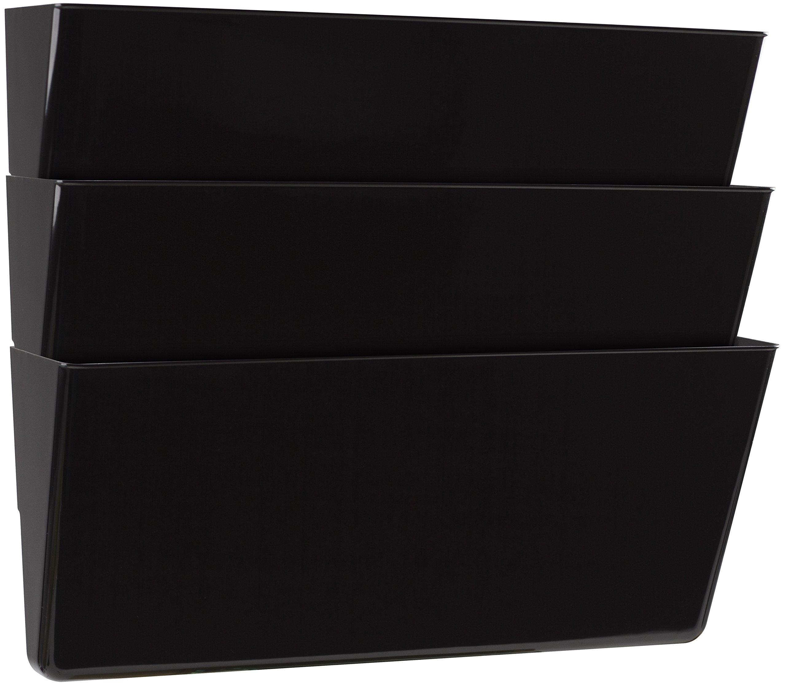Storex Legal Sized Wall Files, 3-Pack, Black, Case of 6 (STX70228U06C)