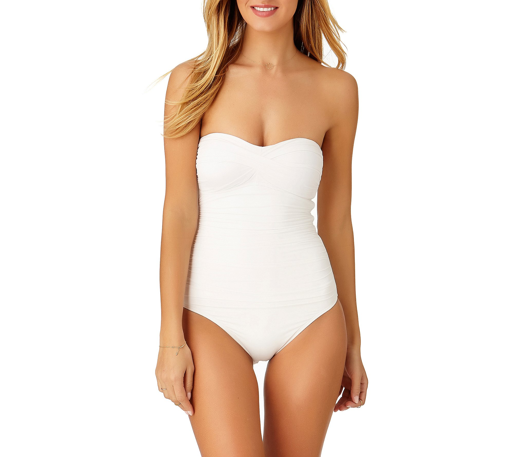 Anne Cole Women's Twist Front Shirred One Piece Swimsuit, White, 6