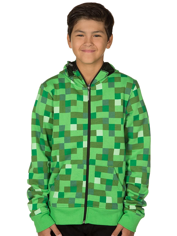 e3e6f7a827f Amazon.com  JINX Minecraft Big Boys  Creeper Premium Zip-Up Hoodie  Clothing
